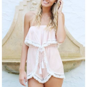 Pink strapless playsuit with tassel trim | Hannah | escloset.com