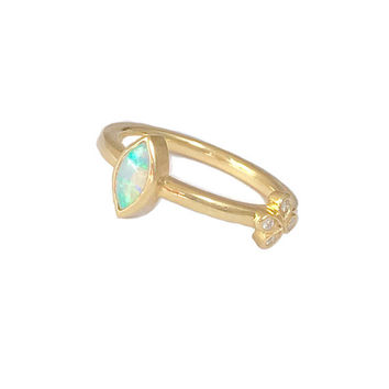 Opal Ring/ Green Opal/ Stacking Ring/ Australian Opal/ Handmade/ One-of-a-kind/ Marquis Opal/ Fiery Opal/ Dainty Ring