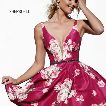 Sherri Hill 32321 Flirty V-Neck Printed Dress