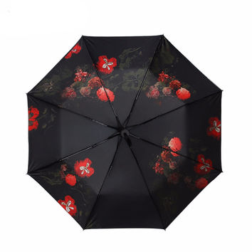 Flowers Print Three Folding Fashion Umbrella
