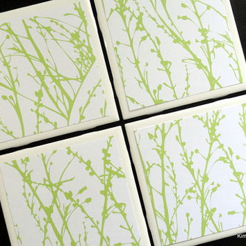 Green Plant Coasters, Coaster, Coasters, Tile Coaster, Tile Coasters, Ceramic Coasters, Table Coasters, Drink Coasters, Coaster Set of 4