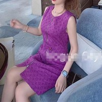 Louis Vuitton Casual  Women Pattern Letter Simple Fashion All-match Mini Dress