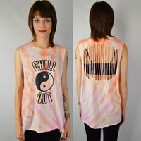 Yin Yang Shirt Chill Out Tie Dye Large Soft Grunge Hippie Womens Clothing Tshirt Pale Slit Cut Holes Tank Backless Cutout Handmade Orange