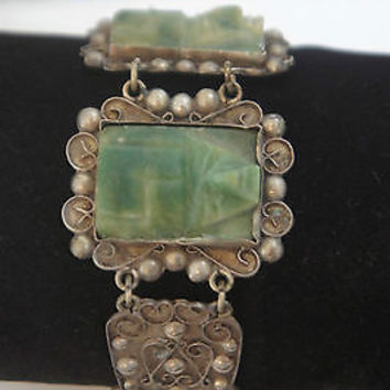 Sterling Silver Carved Jade Aztec Mask Bracelet & Filigree Design