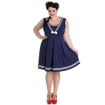 Hell Bunny Ruin Navy Sailor Kawaii Nautical Love V-Neck Sailor Mini Dress