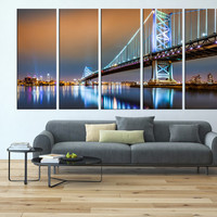 Philadelphia canvas art print , ben franklin bridge, large canvas print, extra large canvas print, Philadelphia skyline wall decor art  t123