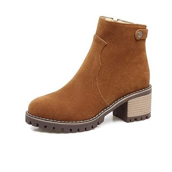 British Style Zip Chunky Heeled Chelsea Boots 7579