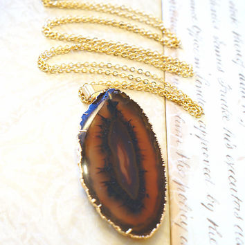 Invigorating Brown Agate Slice Necklace, Agate Geode Necklace, Geode Druzy, Agate Geode