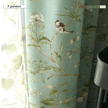 Linen Blue Color Window Curtain