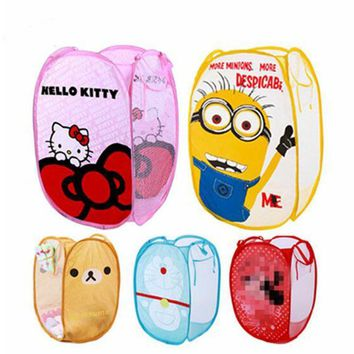 Minions Hello And Kitty Folding Dirty Clothing Laundry Bucket Storage Basket Children'