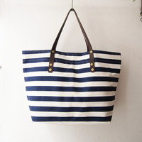 stripes canvas tote bag weekender bag beach tote in navy gym bag nautical summer oversized beach bag leather handles straps bridesmaid gift