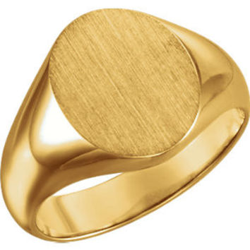 18K Yellow 10x8mm Oval Signet Ring