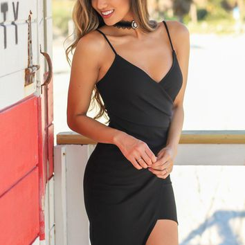 Black Short Dress with Ruched Side