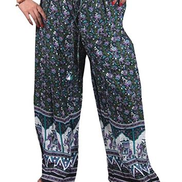 Womens Boho Harem Pant Trouser Green Elephant Printed Palazzo Hippie Pants