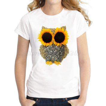 New Fashion 3d Creative Sunflower Design Owl Women's Printed T shirt Novelty Owl You Need Is Love Basic Tops Girl's Funny Tee