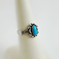 Vintage Navajo Silver Ring Size 6 - Turquoise Ring - Vintage WM Wheeler Co. Southwestern Ring - Turquoise Cabochon Silver Ring