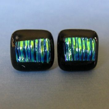 Post Earrings, Multicolored Glass Earings, Hypoallergenic Earrings, Fused Glass Jewelry - Tropical Nights - 407 -2