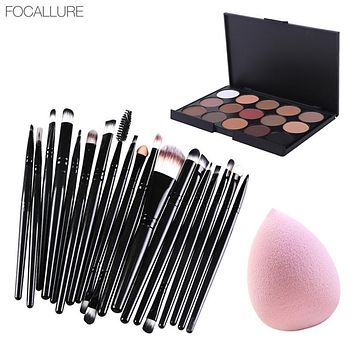 Hot Sale Focallure Makeup Set 20 Pcs Eye Makeup Brushes+1 Pc Makeup Sponge+1 Pc 15 Color Eyeshadow Palette Cosmetic Set