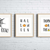 Set of Three Halloween Printable Wall Art | Halloween Decor | Digital Download / Instant Download Wall Decor