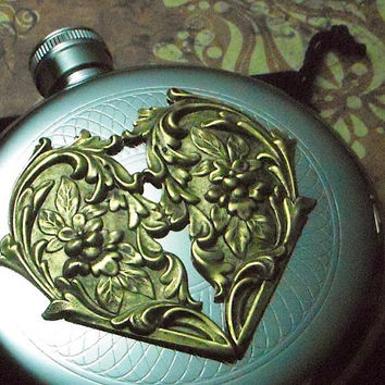 Heart Flask Steampunk Gothic Victorian Vintage by CosmicFirefly