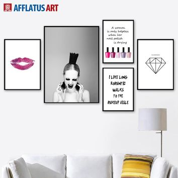 Modern Fashion Girl Home Decor Canvas Painting Lip Nail polish Diamond Wall Art Posters And Prints Wall Pictures For Living Room