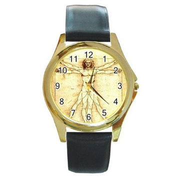 "Leonardo De Vinci's ""Man"" on a Mens, Womens Gold Tone Watch with Leather Band"