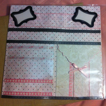 Premade baby scrapbook page, pink and black lace theme, pockets for keepsakes, layered room for photos