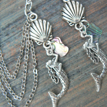 mermaid ear cuff SET abalone mermaid chained ear cuff set