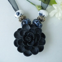 Necklace Black Dahlia Polymer Flower w Lampwork Beads on Blk Organza Ribbon