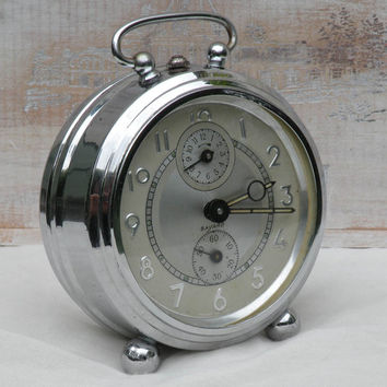 French vintage Bayard alarm clock, chrome alarm clock, antique alarm clock, night stand clock, retro alarm clock. French home decor