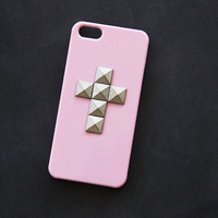 Pink iPhone Case Cross iPhone 5s Case Cross iPhone 4  Studded iPhone 4s Cute Samsung Galaxy S3 Case Samsung S4 Cover Pink Pink Cross