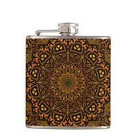 Golden Mandala - 6 oz. Stainless Steel / Vinyl-wrapped Flask | Zazzle.com