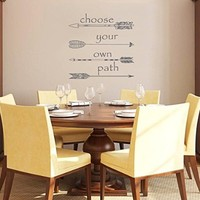 Wall Decals Quotes Choose your own Path Quote Sign Words Kids Nursery Arrows Hippster Fashion Wall Vinyl Decal Stickers Bedroom Murals