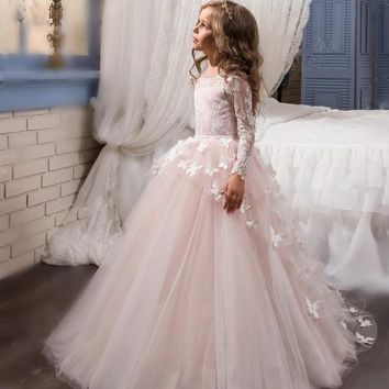 Christmas Long Sleeve Flower Girls Dresses for Weddings Appliques Tulle Girls First Communion Dresses Kids Pageant Gowns 2017