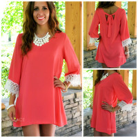 Conway Coral Lace Trim Dress