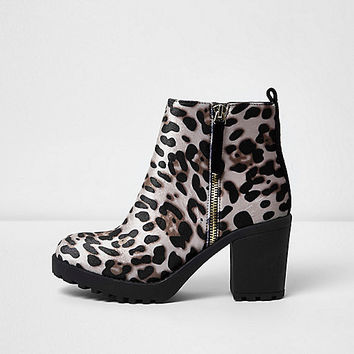 Brown leopard print chunky boots - Shoes & Boots - Sale - women