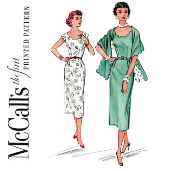 1950s Scallop Trim Sheath Dress Pattern Bust 30 McCall's 9466 Sleeveless Scoop Neck Evening Dress and Stole Womens Vintage Sewing Pattern