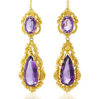 One-Of-A-Kind Antique Yellow Gold and Amethyst Pendant Earrings, circa 1840s | Moda Operandi