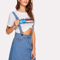 Adjustable Straps Denim SkirtFor Women-romwe