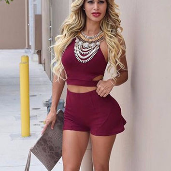 Wine Red Hater Cropped Top and Shorts
