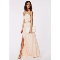 Missguided - Abbi Cut Out Embelished Maxi Dress Nude