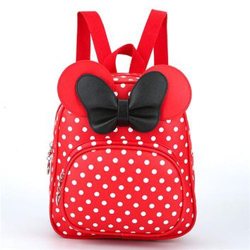 School Backpack trendy Children Backpacks School Mickey Mouse Bags For Teenage Girls Small PU Leather Dot Women Backpack With Bow mochila feminina AT_54_4