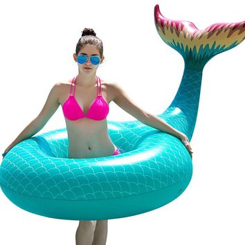 Giant Inflatable Mermaid Tail Pool Float in Green