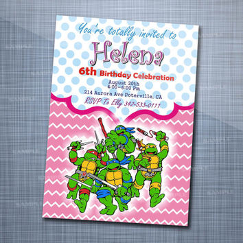 Girl Teenage Mutant Ninja Turtle, Birthday Party, Invitation Card Design