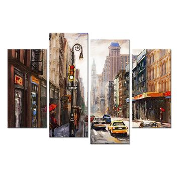 4 Pieces Red Umbrella Lady Walking On London Street Canvas print