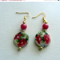 Christmas in July Sale Pink and Green Floral Beaded Dangle Earrings