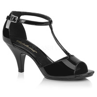 "Belle 371 Closed Back T-Strap 3"" Heel Sandal Black Patent PRE-ORDER"