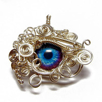 Taxidermy Glass Purple Blue Eye Pendant - Wire Wrapped Zombie Glass Eyeball Jewelry