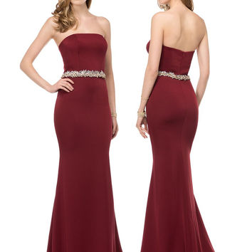 Colors 1541 Strapless Jeweled Waistband Prom Evening Dress