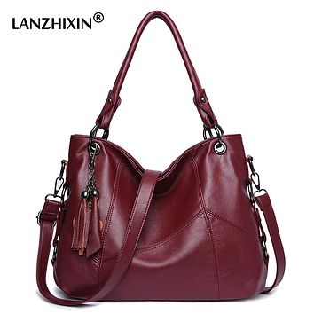 Lanzhixin Women Leather Handbags Women Messenger Bags Designer Crossbody Bags Women Bolsa Top-handle Bags Tote Shoulder Bags 819